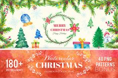 180+ Christmas Watercolor Elements by CreativeToons on @creativemarket
