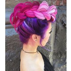 Pink, magenta, and purple Mohawk braid by @heatherchapmanhair model: @aikaslovecloset #love #beauty #hairaddiction