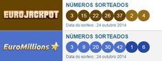 Dezenas sorteadas nas #loterias #euromillions e #eurojackpot em 24 de outubro de 2014