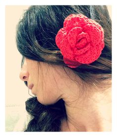 Crochet Hair Flower Pin wedding shabby chic, Uncinetto Capelli Rosa molletta acconciatura matrimonio
