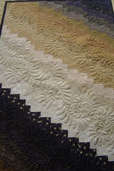 swirly diagonal feathers DSC04068 by Jessica's Quilting Studio on Flickr