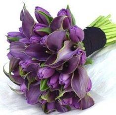 bouquet of purple tulips and calla lilies with a few green leaves for accent a-purple-wedding Lys Calla, Purple Calla Lilies, Purple Wedding Bouquets, Purple Flowers, Lilies Flowers, Bridal Bouquets, Bridesmaid Flowers, Purple Carnations, Purple Dahlia