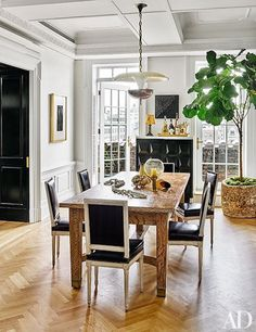 The new (old) Greenwich Village apartment of Nate Berkus and Jeremiah Brent (and Poppy) was just featured in Architectural Digest . Nate Berkus, Greenwich Village, Architectural Digest, Jeremiah Brent, Dining Room Design, Interior Design Kitchen, Dining Rooms, Dining Table, Room Interior