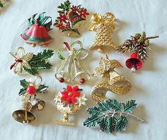 VINTAGE CHRISTMAS BROOCH PIN LOT-LISNER,MYLU,ART,GERRY'S-ENAMEL RHINESTONES | eBay