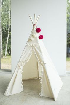 Boho Style Teepee for Kids: Teepee Tent Decorated with Tassels and Pom Poms Kids Teepee Tent, Teepees, Aspen Wood, Fabric Bunting, Baby Pillows, Flower Garlands, Trendy Colors, Innovation Design, Nursery Decor