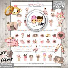 Wedding Stickers, Planner Stickers, Engagement Stickers, Erin Condren, Kawaii Stickers, Planner Accessories, Wedding Ring, Wedding Cake