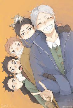 Iwa-chan, Moniwa, Yaku, Akaashi, & Suga