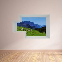 Blocky World Window Set 4 - Shot 11 Vinyl Wall Decal These are massive decals using really high quality material. They are great for painted drywall surfaces. It depicts a Minecraft like scene using a custom texture pack. It is really beautiful on a wall. It looks like the scene is inside