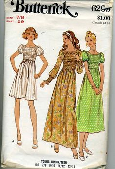 Butterick 6269 A - Vintage Stil Vintage Dress Patterns, Clothing Patterns, Vintage Dresses, Vintage Outfits, Vintage Clothing, 70s Fashion, Fashion History, Fashion Week, Vintage Fashion