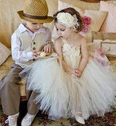 vintage style ring bearer and flower girl #wedding #vintage #ringbearer #flowergirl