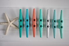 Colorful Boat Cleat Wall Hooks by ByTheSeashoreDecor.