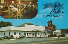https://flic.kr/p/uDJFTA | Archie's Lobster House - Roanoke, Virginia | 5 miles North on U.S. 11 & 220 Roanoke, Virginia NATIONALLY FAMOUS Serving Live Maine Lobsters and Charcoal Western Steaks. Family Dinners and Children Plates. The Washington News Company, Washington 1, D.C. A Koppel Card 75464