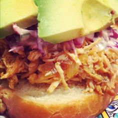 Slow Cooker Peach BBQ Chicken Sandwiches- these were awesome. I used Sweet Baby Rays spicy and sweet BBQ sauce and added red pepper flakes too. The avocado and sourdough makes these sandwiches! Slow Cooker Recipes, Crockpot Recipes, Chicken Recipes, Peaches And Cream Recipe, Czech Recipes, Ethnic Recipes, Bacon Wrapped Stuffed Jalapenos, Chicken Alfredo Stuffed Shells, Bbq Chicken Sandwich