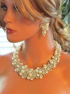 Wedding jewelry set, OOAK Bridal bib necklace earrings set, vintage inspired pearl necklace, rhinestone Victorian bridal statement necklace. $122.50, via Etsy.