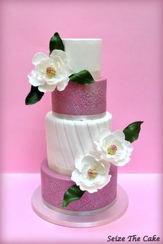 Wedding Cake with sugar magnolias