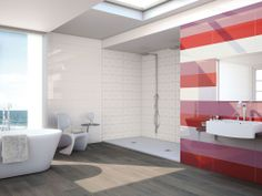 Colourful #bathroom in red, pink and white with #ceramic wood #floors. 3003 series.