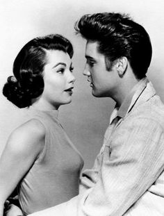 theniftyfifties:  Elvis Presley and Judy Tyler in 'Jailhouse Rock', 1957.