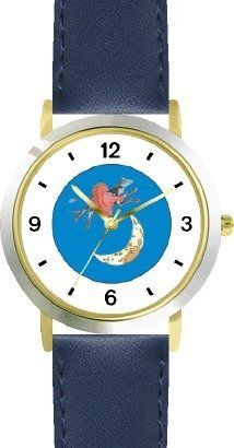 Hey Diddle Diddle - The Cow Jumped Over the Moon No.1 - from Mother Goose by Artist: Sylvia Long - WATCHBUDDY® DELUXE TWO-TONE THEME WATCH - Arabic Numbers - Blue Leather Strap-Size-Children's Size-Small ( Boy's Size & Girl's Size ) WatchBuddy. $49.95. Save 38%!