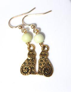 Gold Cat Earrings by KatieBugCreations4U on Etsy