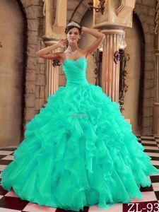 Turquoise Sweetheart Ruffled and Ruffled Quinceanera Dress for 2014 - woman in a dress, floral dresses juniors, dress shops online *ad