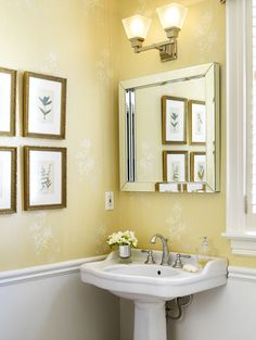 Contemporary Art Sites Furniture Traditional Powder Room Picture Good Yellow Color Wall Picture Nice Designs Some Picture Frame Good Lighting Mirror Washbasin Spigot White