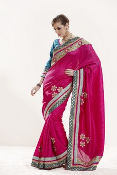 Magnificient Deep Pink Embroidered Saree - V_SS_906