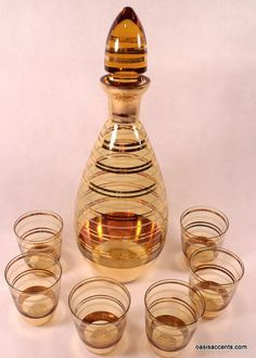 Image result for amber tinted 5 pc decanter set