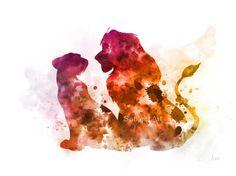 Simba y Nala el Rey León inspirada ilustración PRINT ART