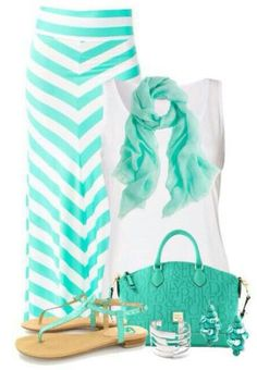 Cute Mint Outfits For Spring. Mint striped maxi skirt, mint scarf,beautiful mint handbag,adorable flat sandals and a white shirt.Punchy everyday outfit.
