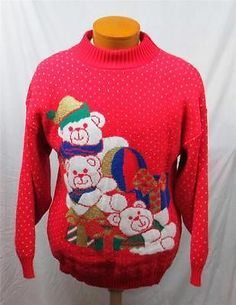 Ugly Christmas Sweater Cardigan Xmas Large Tacky 80's Teddy Bear Gold Presents | eBay