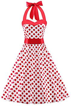 V Fashion 50s Rockabilly Halter Polka Dots Audrey Dress Retro Cocktail Dress Dots White Red Small >>> Details can be found by clicking on the image. (This is an affiliate link and I receive a commission for the sales)