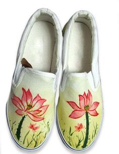 Classic Colorful Canvas Lotus Womens Painted Shoes