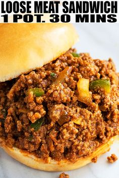 Quick, easy loose meat sandwich recipe (Tavern sandwich), made with simple ingredients in one pot over stovetop in 30 minutes. Seasoned ground beef in buns! Ground Beef Sandwich Recipe, Ground Beef Recipes, Sandwich Recipes, Lunch Recipes, Easy Dinner Recipes, Gourmet Recipes, Cooking Recipes, Healthy Recipes, Budget Recipes