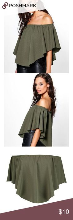 💞SALE💞Double-Layer Bardot Top Army green bardot top Boohoo Tops Blouses