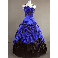 Charming Shoulder Strips Blue And Black Victorian Dress With Multi Layers And Ruffles  Would love to turn this into a TARDIS dress.