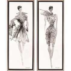 Fashion II 2 Piece Framed Painting Print Set (6216200 BYR) ❤ liked on Polyvore featuring home, home decor, wall art, backgrounds, sketch, filler, framed wall art and framed paintings