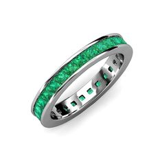 Your Personal Ejeweler..Shining with opulence and femine appeal,this Eternity Band inspires any attire with Glittering Square Shape Channel Set Emerald symbolizing the Eternal Circle of Love. #Trijewels #Ejeweler #Eternity #Emerald #EternityRing #WeddingBand #EternityBand #Ring #WomensRing #Gift #Love #Wedding #Engagement #Womenjewelry #FineJewelry #JewelryBuyers #AnniversaryRing #Wedding #YellowGold #WhiteGold #RoseGold #Stackable #GoldRing #WomenJewelry #JewelryLover #Gold Emerald Eternity Band, Eternity Bands, Anniversary Rings, Wedding Anniversary, Fine Jewelry, Women Jewelry, Birthstones, 18k Gold, Wedding Bands