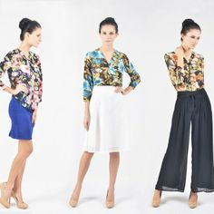 Flower print V-Neck Blouse in three ways
