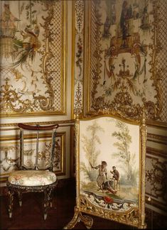 Petit Chateau at Chantilly, detail of the room of the 'grande singerie' by Christophe Huet