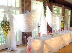 Decorating Dreams: Wedding decorating photos of indoor reception with natural light from windows, white, pink and green decorations and linens    love the lights behind the table cover by cheryl