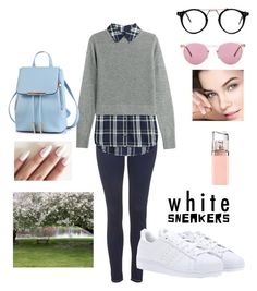 """""""White Sneakers for a cold Day!!!"""" by thati-lira on Polyvore featuring Oliver Peoples, Topshop, Veronica Beard, HUGO and adidas"""