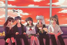Inuyasha, Sango, Miroku, Kagome, Shippo and Koga. Amor Inuyasha, Inuyasha Funny, Inuyasha And Sesshomaru, Kagome And Inuyasha, Sango Y Miroku, Kirara, Anime Nerd, Manga Anime, Me Me Me Anime
