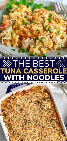 Get ready to be blown away with the flavor and freshness of The Best Tuna Casserole with Noodles! This comfort food classic is sure to become your new favorite. Learn how you can make this recipe ahead and freeze it for an easy and delicious dinner! Pin this for later! Healthy Pasta Recipes, Healthy Pastas, Cooking Recipes, Crockpot Recipes, Pasta Dishes, Food Dishes, Best Tuna Casserole, Best Comfort Food