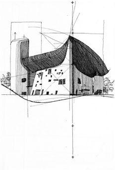 Ryan Patterson  Corbu: Ronchamp (Le Corbusier - France), Pen and ink on paper, 2007