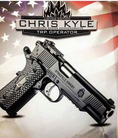 """Springfield Armory TRP Operator Limited Edition """"Chris Kyle"""" Commemorative ACP // Depicted is # 1 of which I believe was given to Chris Kyles Wife! Weapons Guns, Guns And Ammo, Colt M1911, Revolvers, Airsoft, Armas Ninja, 1911 Pistol, Revolver Pistol, Custom Guns"""
