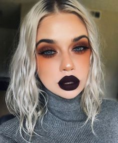 """77.6k Likes, 542 Comments - Lime Crime (@limecrimemakeup) on Instagram: """"Fall is in the air!  @laurenrohrer is wearing NIGHTSHADE Velvetine on lips & VENUS Palette on…"""""""