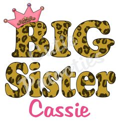 Personalized Big Little Middle Sister TShirt or Onesie Leopard Print