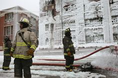 Chicago icy conflagration, 2013 -- huge warehouse fire. In the weather conditions, the structure turned into ice