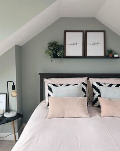 It's been a good few days since I last posted. and it seemed fitting to post a picture of my bedroom as I'm having a serious love… Guest Bedrooms, My Room, Bed Pillows, Pillow Cases, Loft Conversions, Nest, Fabrics, Pictures, Walls