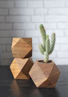 Teak Wood Planters Geometric Shapes by WoodenBorough on Etsy